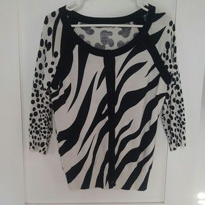 Animal print sweater button up zebra leopard cow